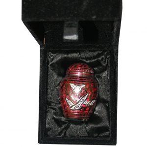 OR2 - Ornamental Silver & red Flying Bird Crem Keepsake copy